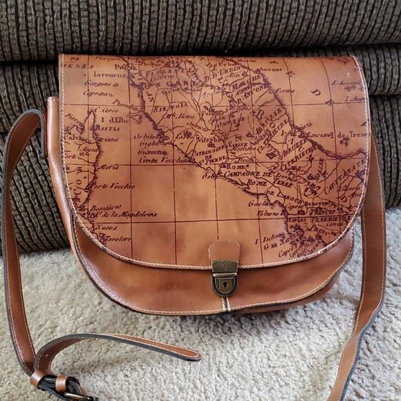 Patricia Nash brown leather map bag